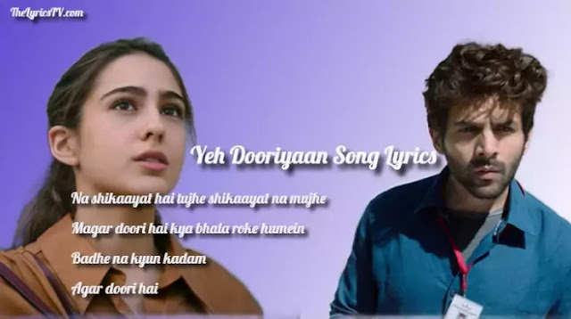 Yeh Dooriyaan Lyrics - Love Aaj Kal 2 - Sara Ali K - Kartik Aaryan