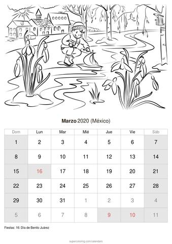 Calendario febrero 2020 niño jugando de méxico