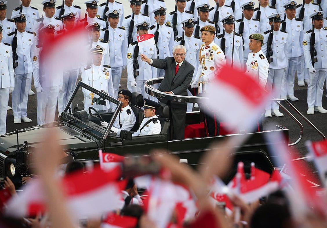 President Tony Tan Keng Yam waving to the crowd. It was his last parade as President of Singapore.