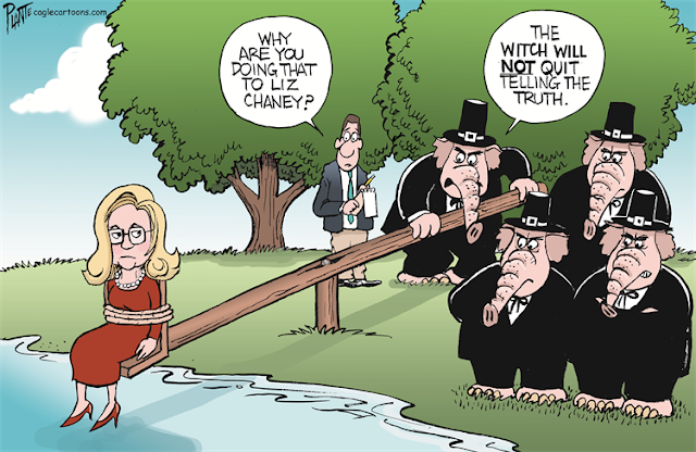 Republican Elephants, dressed as Puritans, dunking Liz Cheney into a creek.  Reporter asks,