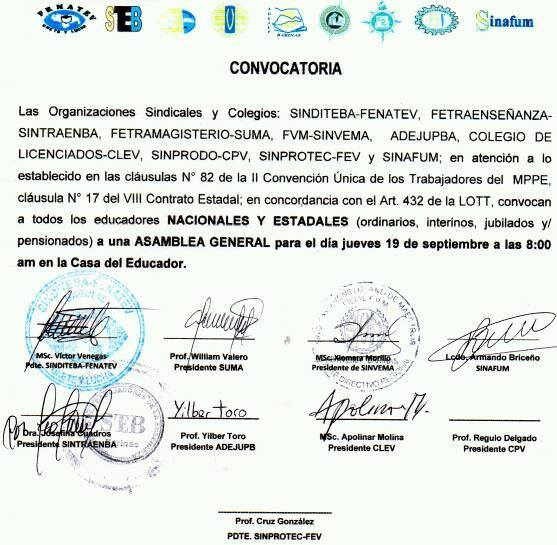 CONVOCATORIA PARA IMPORTANTE ASAMBLEA EL DIA JUEVES 19 DE SEPTIEMBRE DE 2019 EN LA CASA DEL EDUCADOR BARINAS