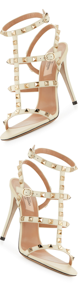 Valentino Garavani Rockstud 105mm Caged Leather Sandal