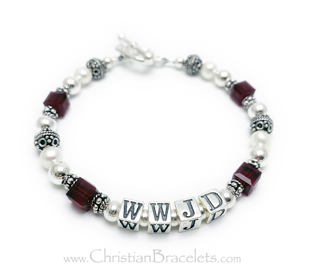 """CB-WWJD-8 The top WWJD bracelet is shown with red or July Birthstones and a Heart Toggle Clasp. Size: 7 1/2"""""""