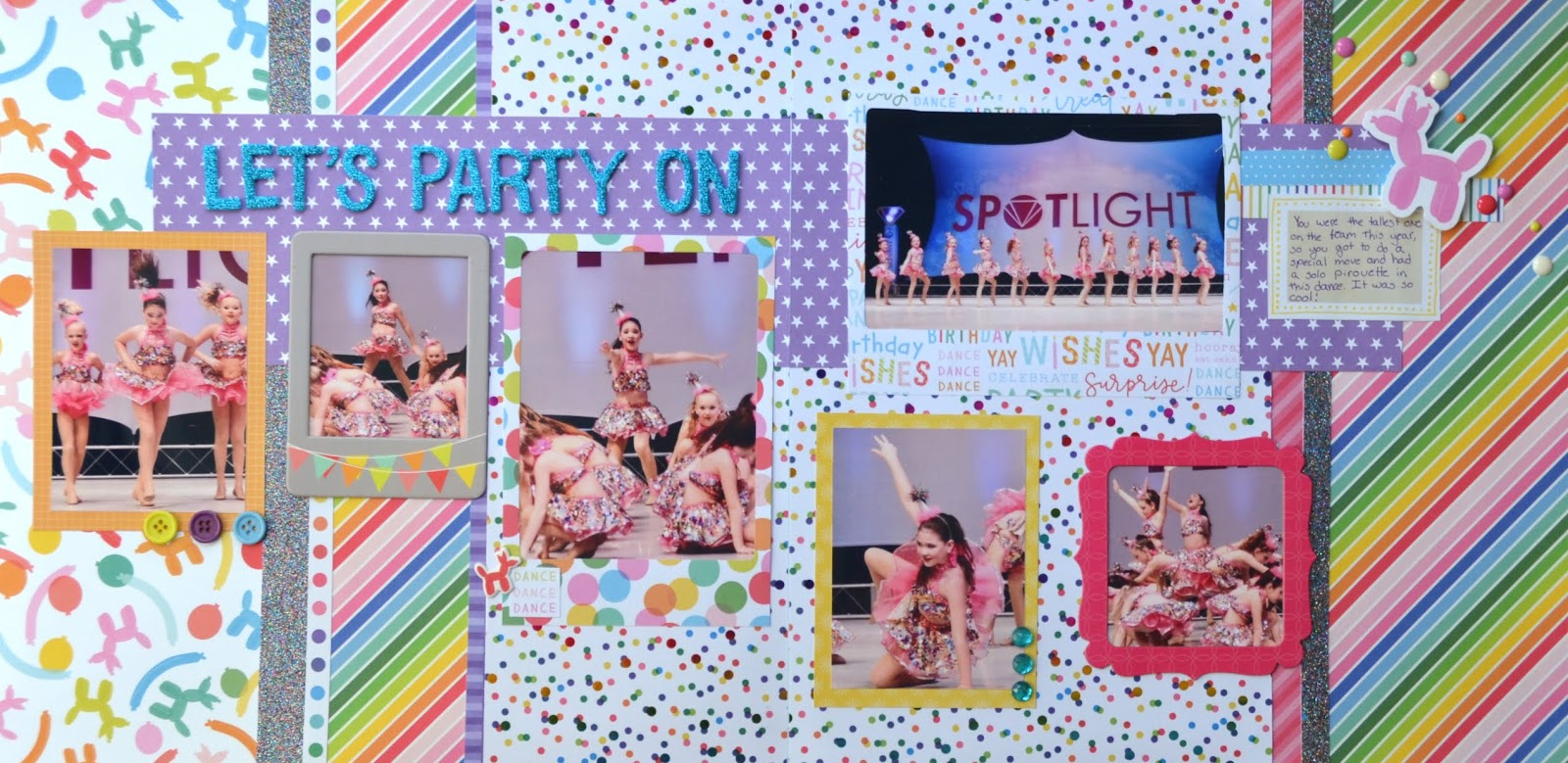 Dance Party Scrapbook Set 5 Double Page Layouts