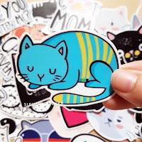 sticker mèo lười dễ thương