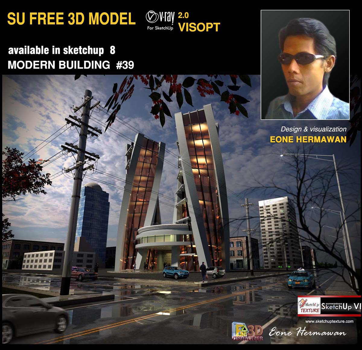 sketchup 3d model modern building 39 by Eone Hernawan cover
