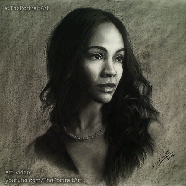 07-Zoe-Saldana-Xiaonan-Pencil-Charcoal-and-Pastel-Portrait-Drawings-www-designstack-co