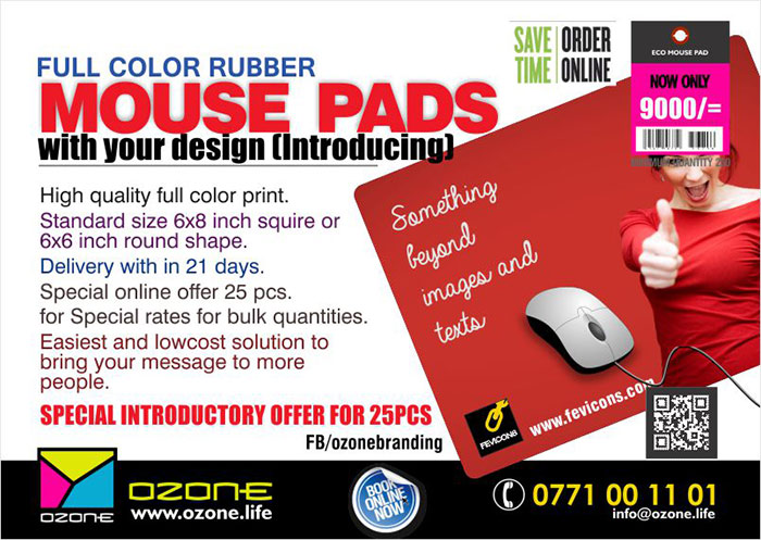 Ozone Branding   High Quality Rubber MOUSE PADS with your full color design /logo