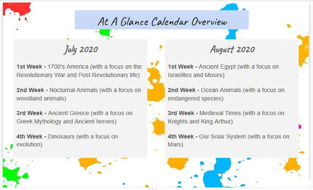 at a glance calendar overview summer school unit study themes theme bohemian catholic homeschool homeschooling
