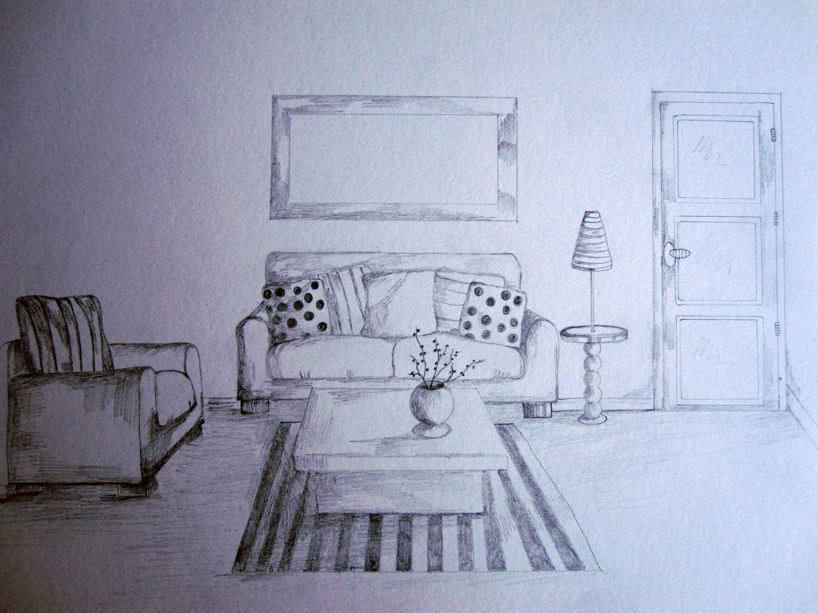 Living room pencil sketch baci living room