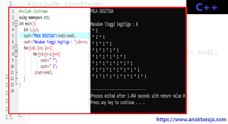 Contoh Program Nested For Pola Segitiga C++