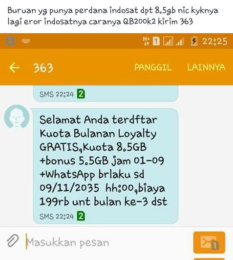 Trik Free Kuota Internet Indosat Ooredoo 8 GB 24 Jam Tanpa