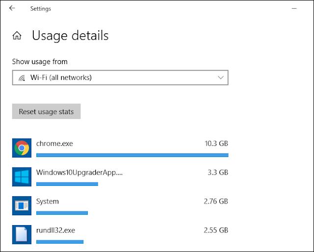 إحصائيات استخدام بيانات الشبكة لكل تطبيق في نظام التشغيل Windows 10