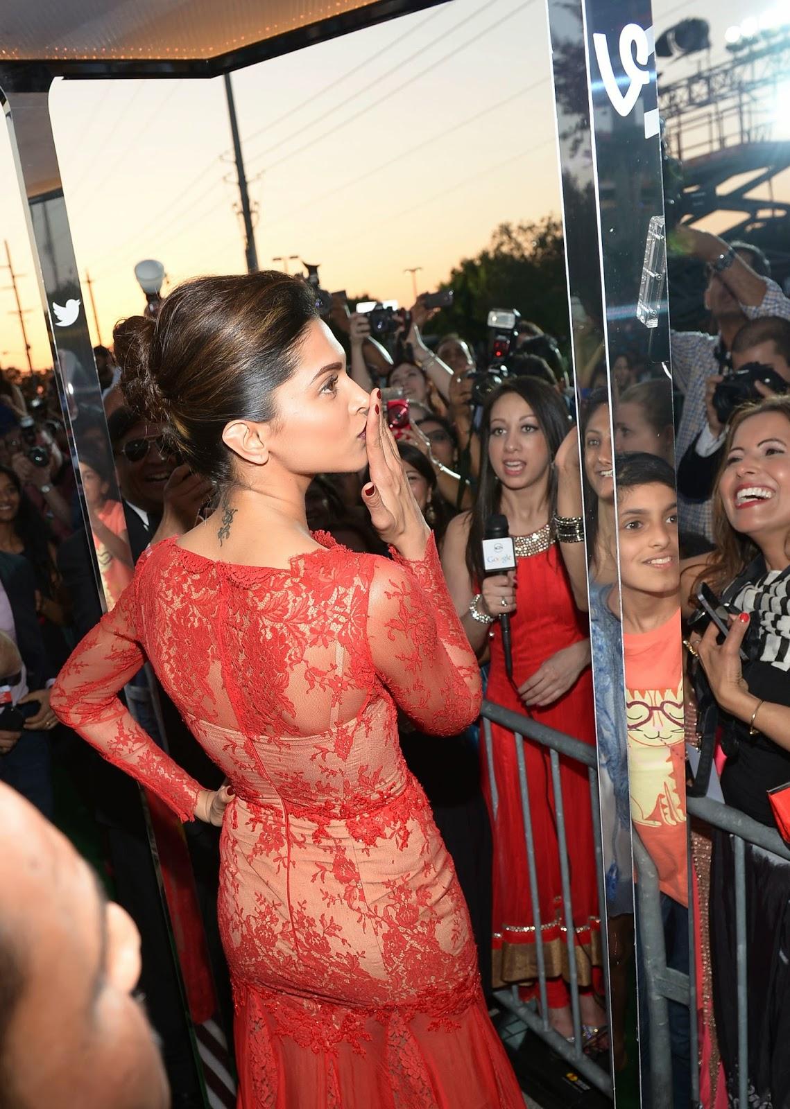 Deepika Padukone Photos in Red Dress at IIFA Awards 2014 ...
