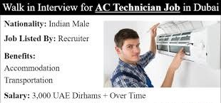 ITI or Diploma Candidates Urgently Hiring for Position AC Technician In Dubai