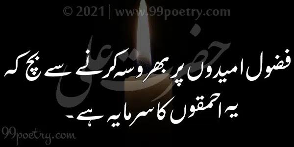 Fuzool Umeedon Par Bharosa-hazrat Ali Aqwal Urdu