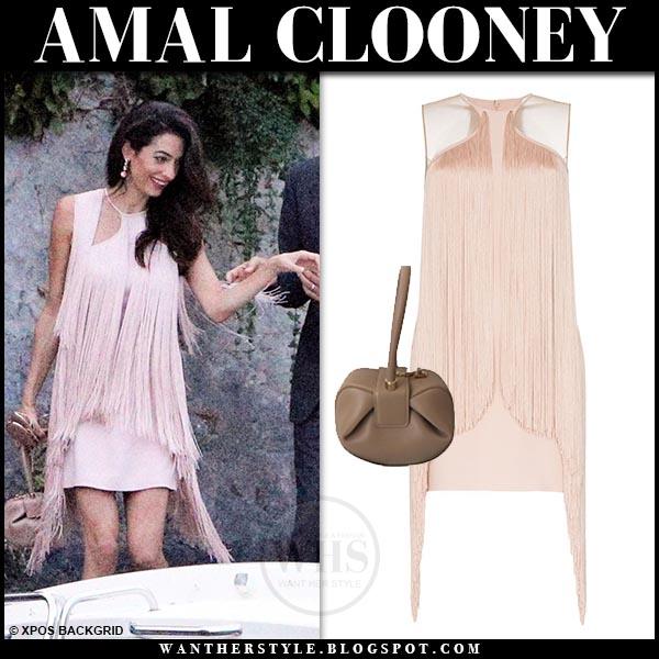 Amal Clooney in pink fringe mini dress at Lake Como on July