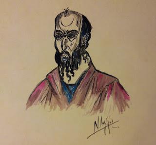 Σκίτσο (Ν. Λυγερός) - Ο Απόστολος Παύλος. (Encre de Chine sur papier ancien).