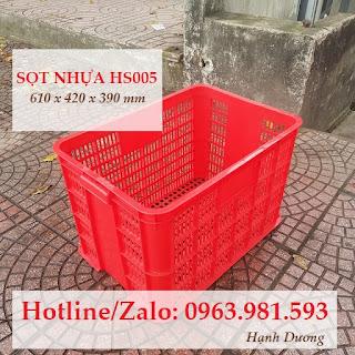 Sọt nhựa HS005, thùng nhựa rỗng HS005, sóng nhựa hở