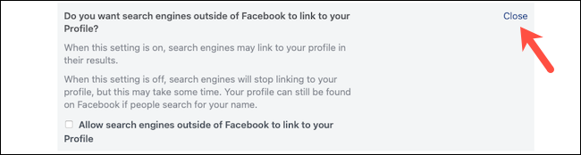 """انقر فوق الزر """"إغلاق"""" لحفظ إعداد محرك البحث على Facebook"""