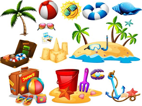 cosas para la playa, palmeras, castillo de arena, balones de playa, flotadores, etc.
