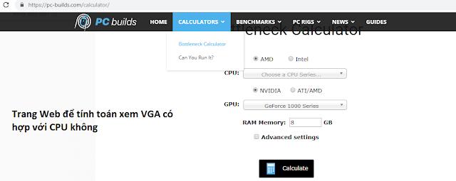 Trang web kiểm tra độ tương thích của CPU với VGA