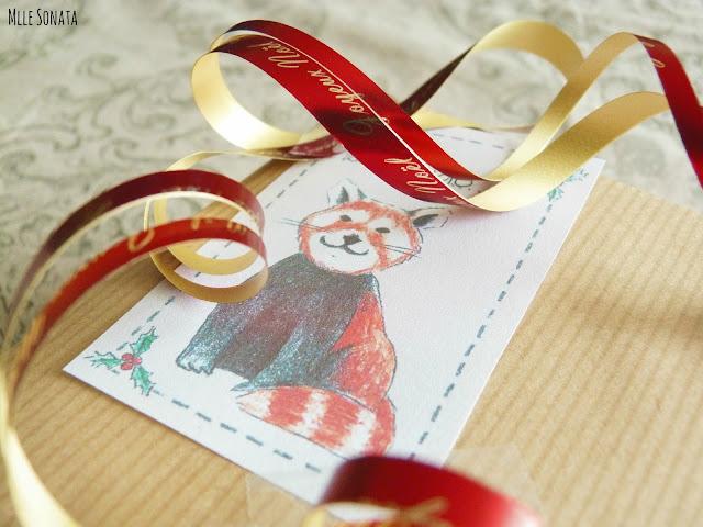Cadeaux de Noel: étiquette personnalisée par Manon Godard.