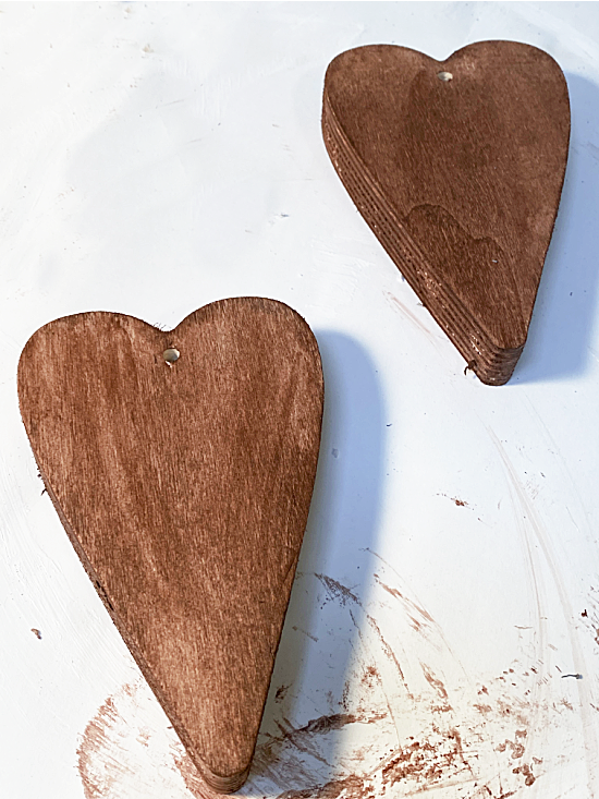 stained wooden hearts