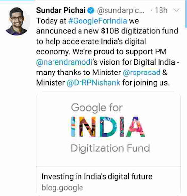 Google 10 billion invest to india