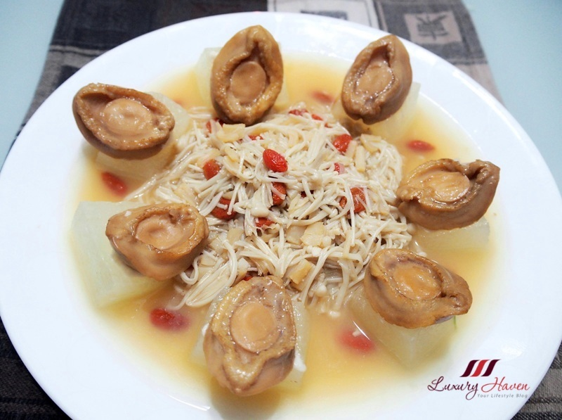 steamed baby abalones winter melon with conpoy enoki