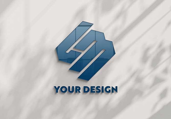 Reflecting Office Wall PSD Logo Mockup