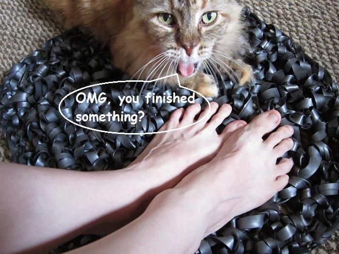 crochet, rubber yarn, floor mat