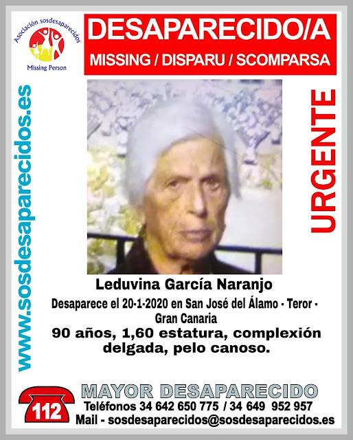 Mujer de 90 años desaparecida en Teror, Gran Canaria
