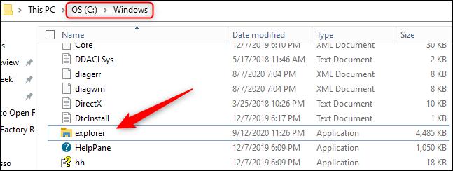 """انتقل إلى C:> Windows ، ثم انقر نقرًا مزدوجًا فوق """"explorer.exe""""."""
