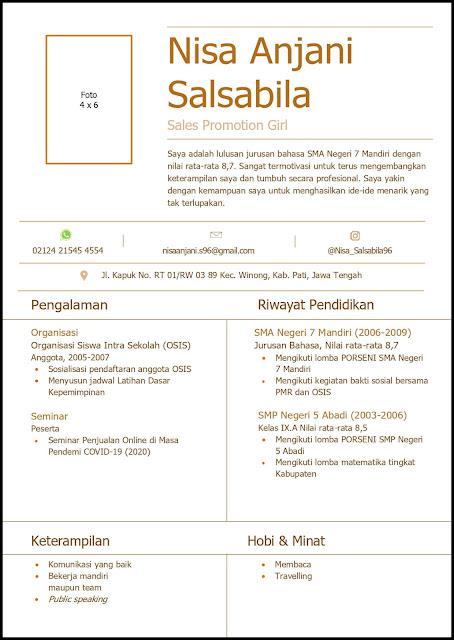 Contoh Curriculum Vitae (CV) Untuk Sales Promotion Girl (SPG) Dan Sales Promotion Boy (SPB)