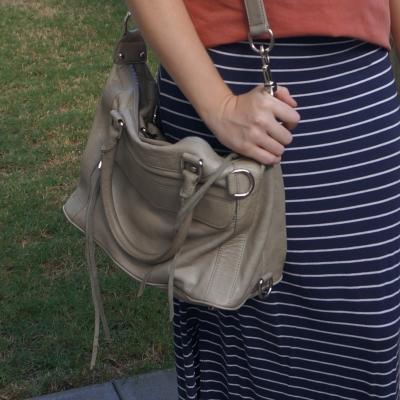 navy stripe maxi skirt, Rebecca Minkoff MAB mini in soft grey | awayfromtheblue