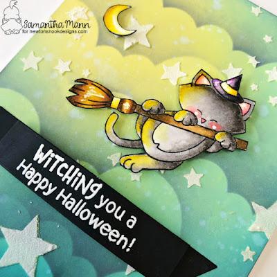 Witching You a Happy Halloween Card by Samantha Mann for Newton's Nook Designs, Halloween Card, Halloween, Clouds, Spooky, Distress Oxide Inks, Ink Blending, Stencil, #newtonsnook #newtonsnookdesigns #halloween #halloweencard #cardmaking #cards #spookysky