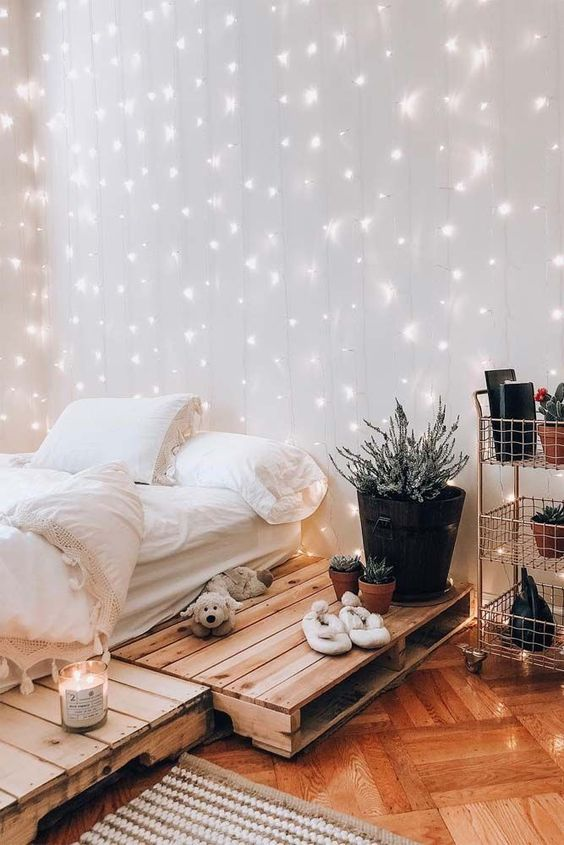 Boho Bedroom Design With String Lights