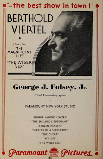 Paramount Pictures presents The Wiser Sex. 1932 ad.