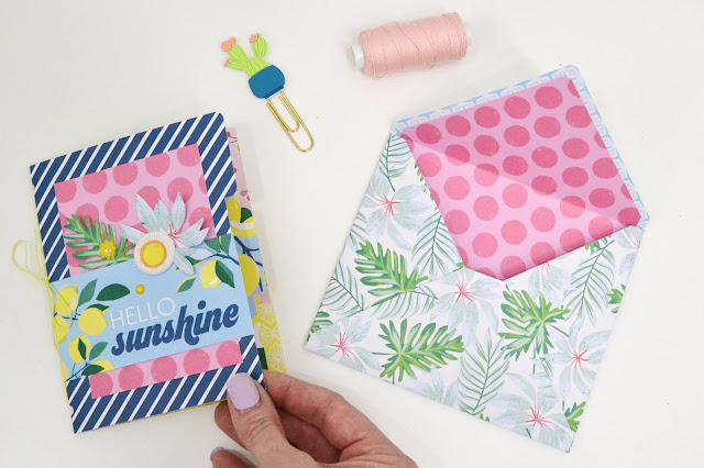 Handmade card and matching envelope made with The Works All In One Tool by We R Memory Keepers