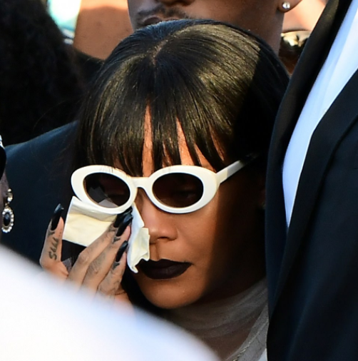 Rihanna wipes away tears at funeral of her cousin Tavon Alleyne, 21, who was shot dead in Barbados (photos)