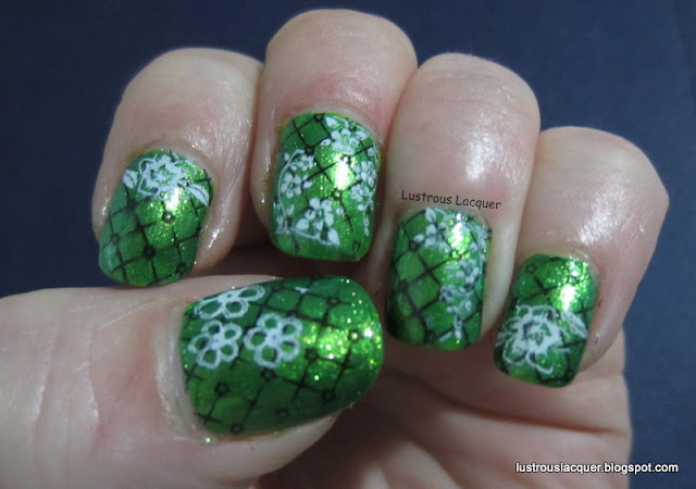 Flowers stamped on green