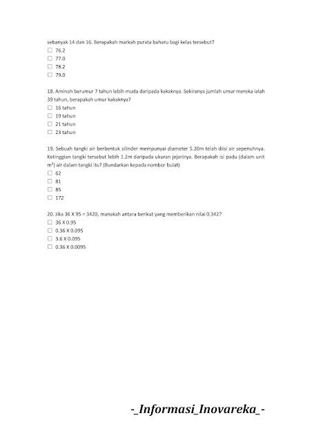 Contoh Soalan Penolong Jurutera JA29 (JPS) 2019