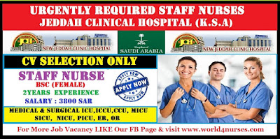Urgently Required Staff Nurses For JEDDAH CLINICAL HOSPITAL (K.S.A)