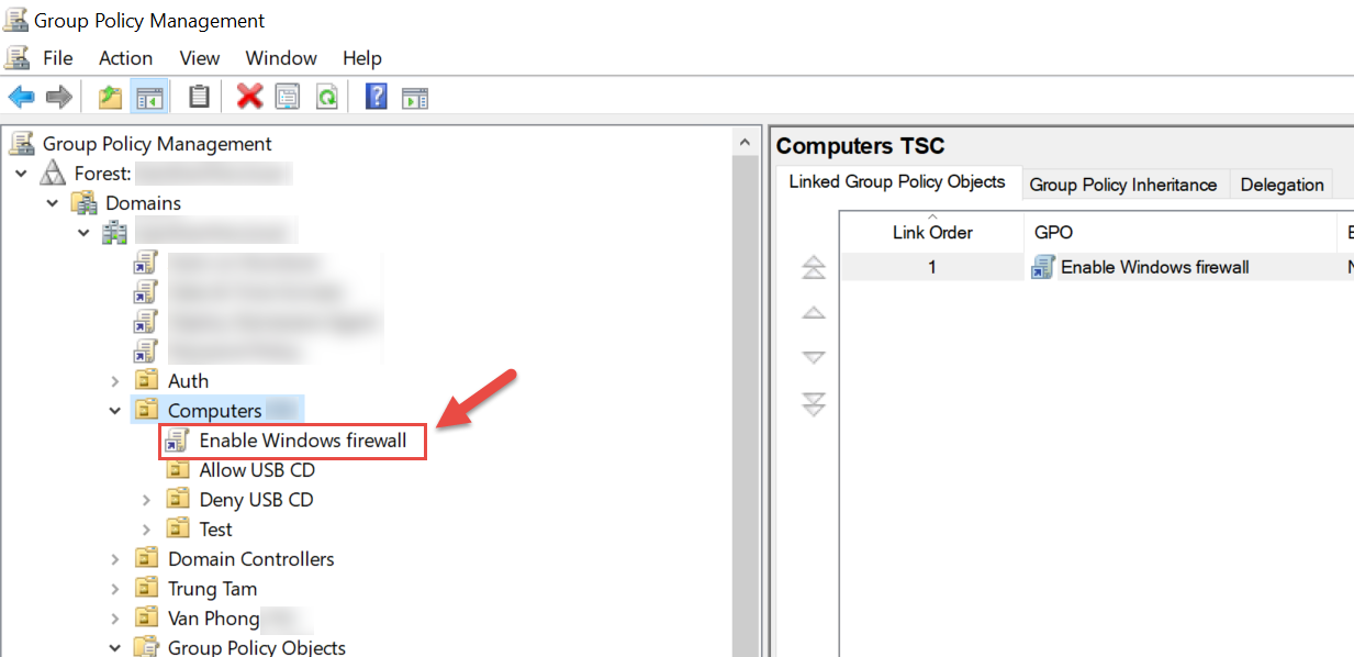 Group Policy Firewall trên Domain Controller