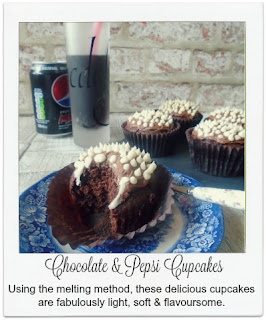 These easy to make cupcakes use the melting method, and result in a cupcake which is light, soft & flavoursome with chocolate and a hint of Pepsi.