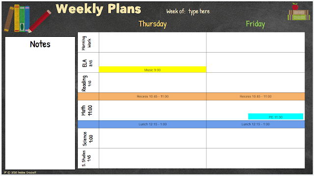 Splitting the days of the week on your planner gives you more space to type in your plans.