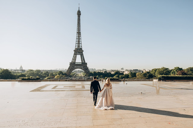 Things To Consider When Planning Your Destination Wedding, Wedding, Travel, Paris, Eiffel Tower, Couple in Wedding Attire, Lifestyle