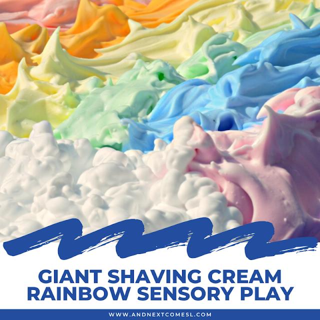 Shaving cream rainbow messy sensory play activity for kids