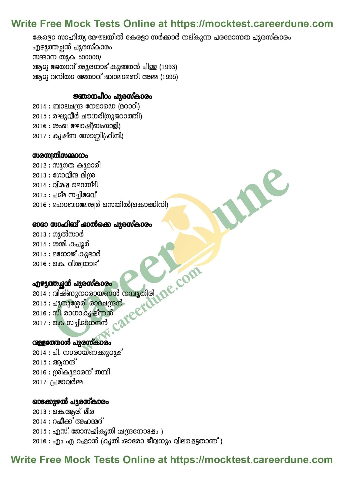 PSC Study Material Current Affairs Awards